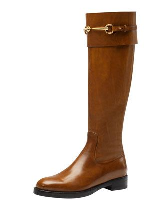 2013 Tall Boots: Jamie Flat Riding Boot, Camel by Gucci