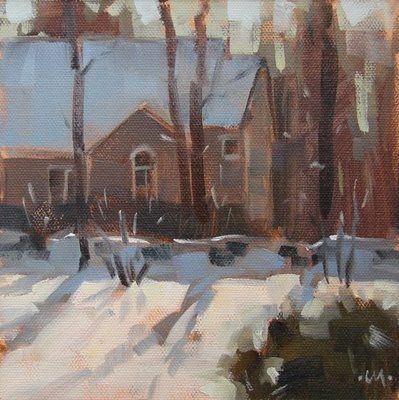 "Daily Paintworks - ""From the Window & Harde Barn Apt"" - Original Fine Art for Sale - © Carol Marine"