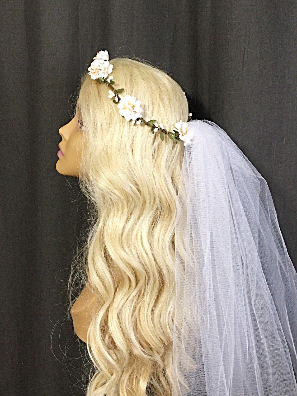 b8f0b44c74e Boho Bachelorette Veil - Boho Flower Crown Veil - Boho Flower Headband -  Bridal Crown -