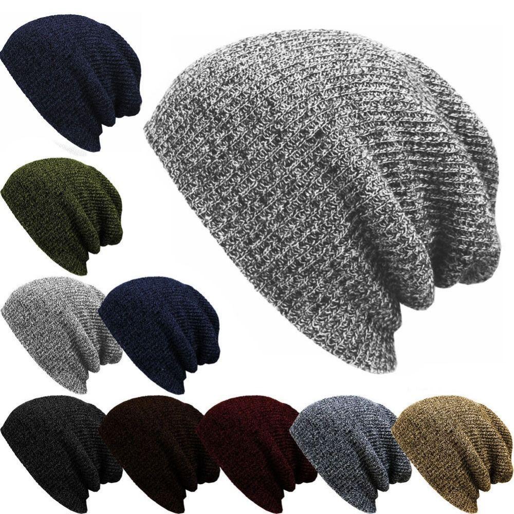 Unisexe Femmes Hommes Tricot Hiver Chaud Ski crochet Slouch Hat Cap Beanie Oversize