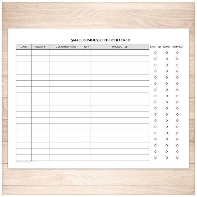 Small Business Order Tracking Page Order Status Column Printable Small Busines Small Business Start Up Small Business Entrepreneur