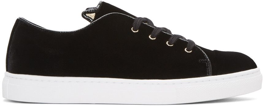 CHARLOTTE OLYMPIA Black Velvet Purrrfect Sneakers. #charlotteolympia #shoes #sneakers