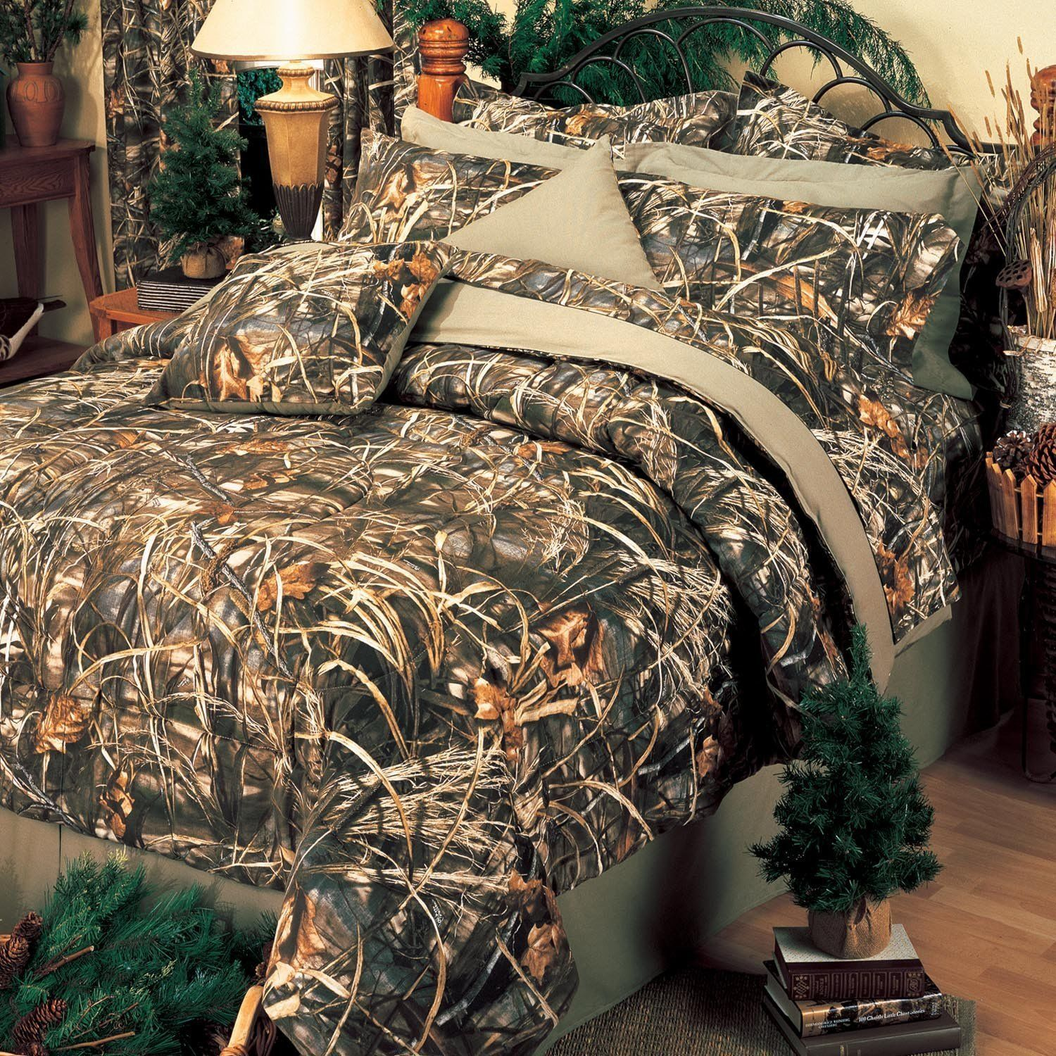 Queen Bed Set Realtree Camo Comforter Sheets Camouflage Bedding Green Pillow New