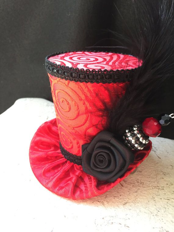 Red Brocade Mad Hatter Mini Top Hat with Hat Pin by daisyleedesign