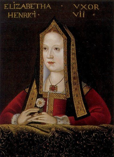 Elizabeth of York, mother of Henry VIII and wife of Henry VII. This is the only surviving contemporary portrait of her.
