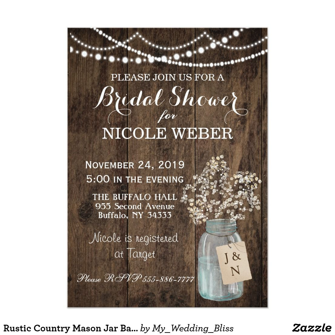 Rustic Country Mason Jar Barn Bridal Shower Invite | Wedding ...