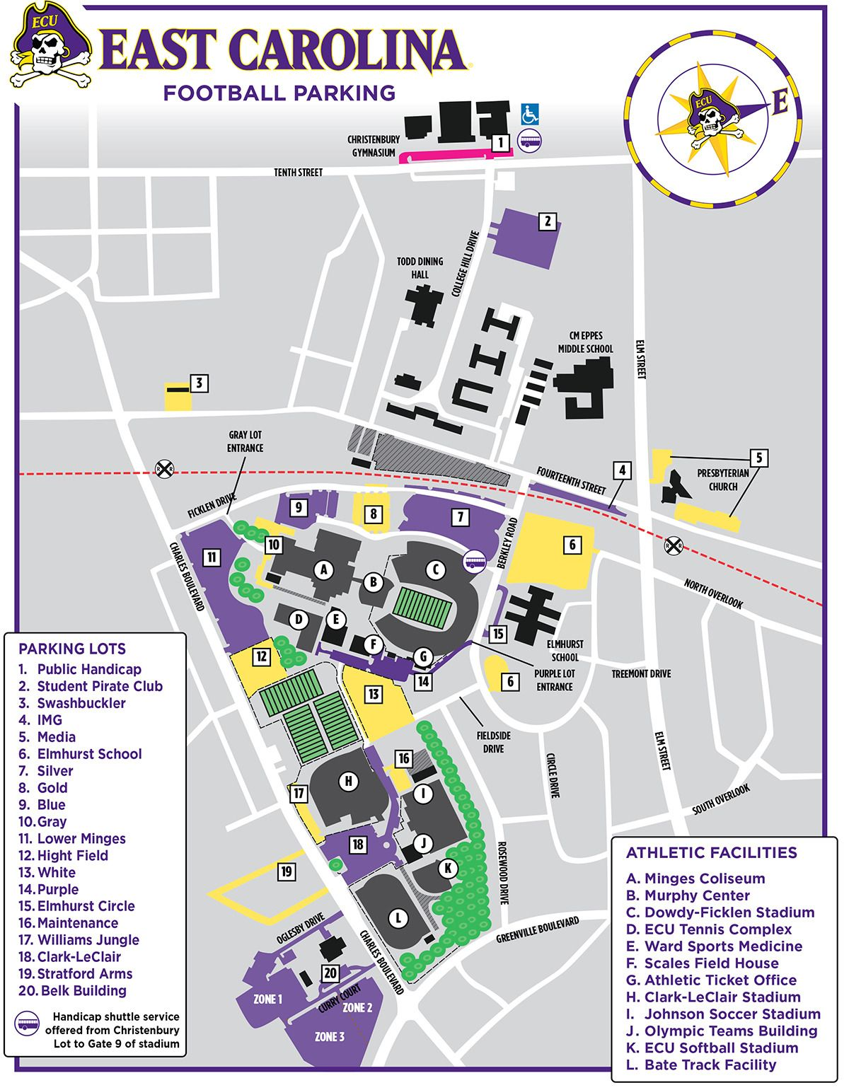 Ecu Football Parking Map Redesigned In 2011 In Illustrator By Building Elements Over Google Cincinnati Bearcats Football East Carolina Football Seating Charts