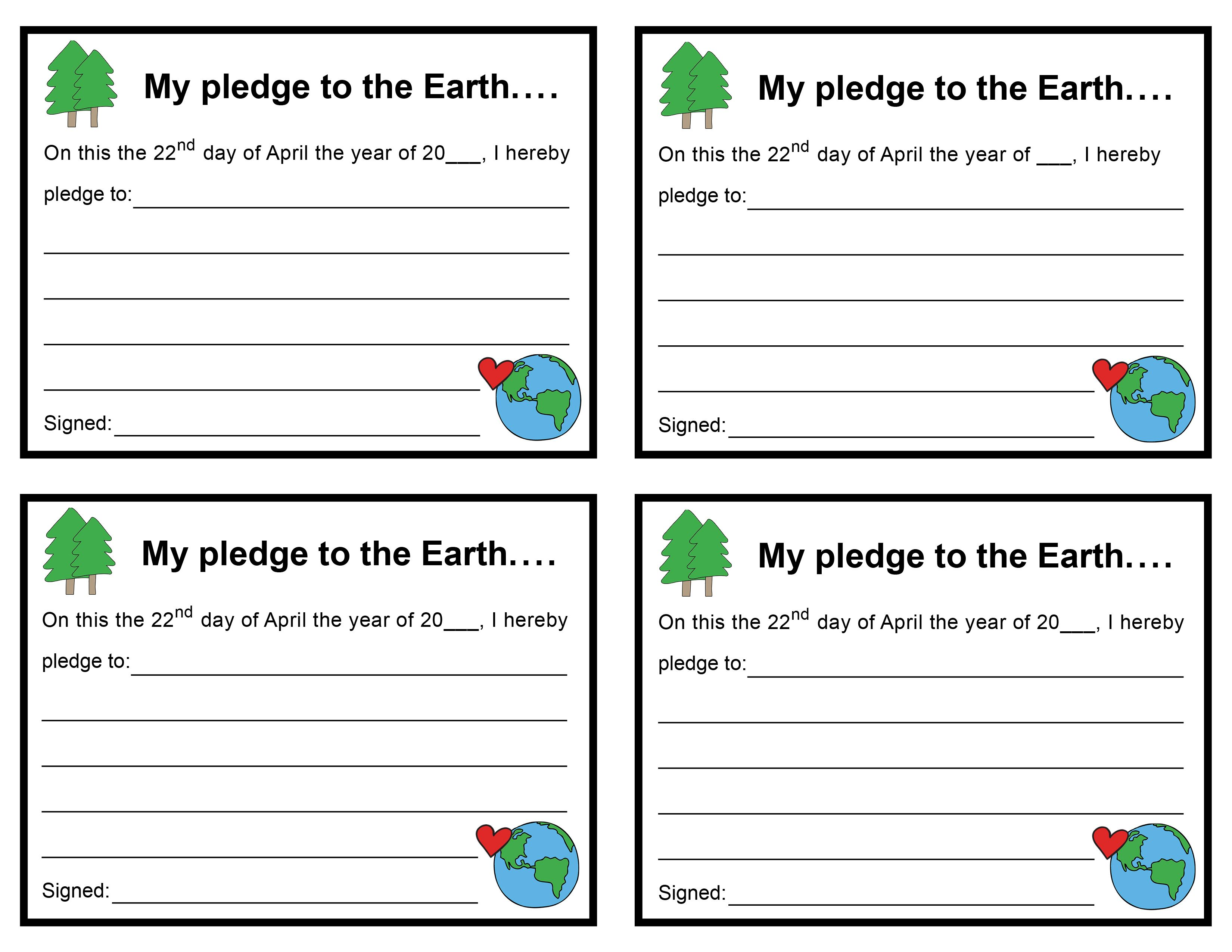 Earth Day Pledge Cards