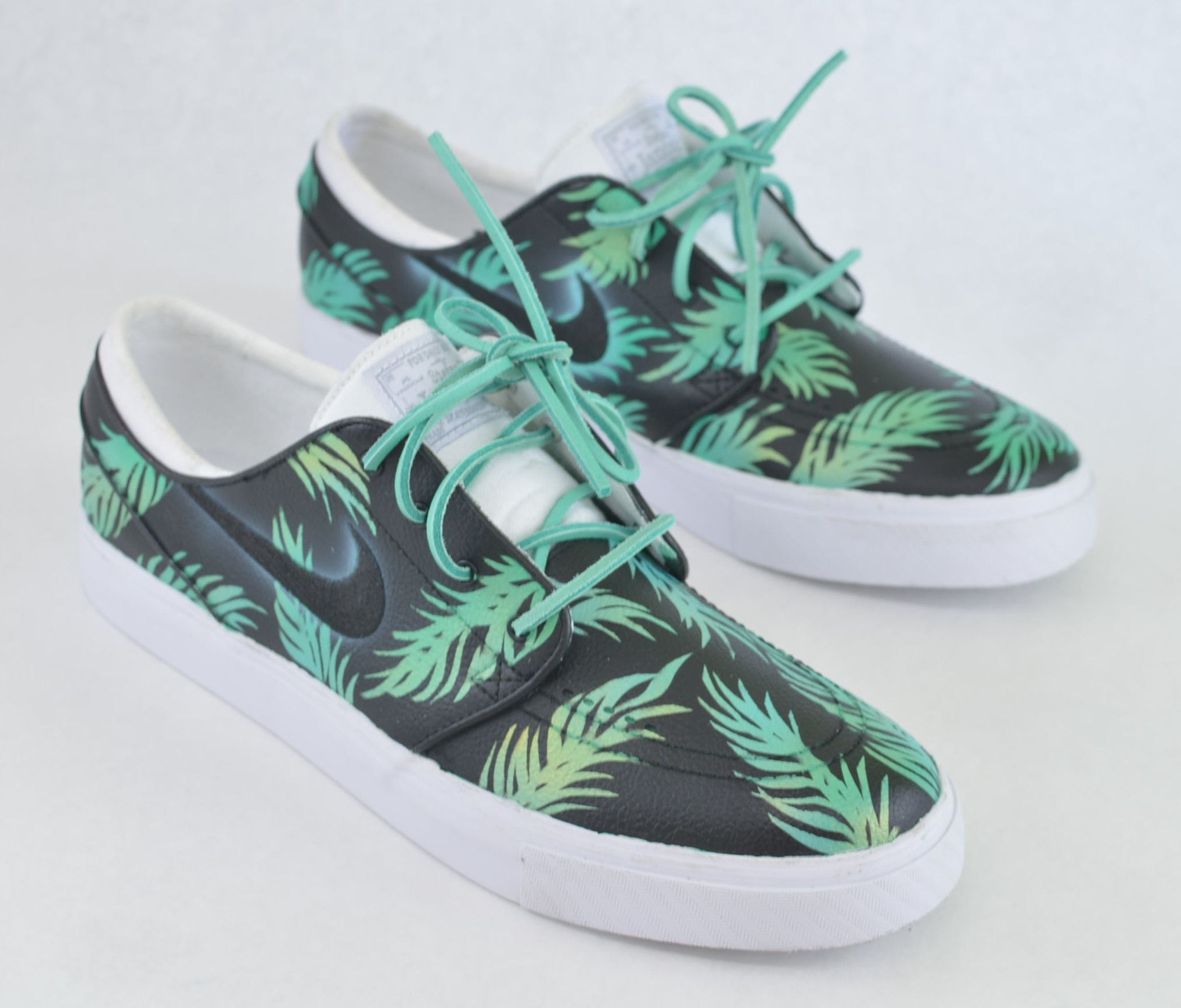 Sea Foam Green   Gold Tropical Floral Nike SB Stefan Janoski - Custom Hand  Painted bc3ec5d319d7