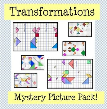 Transformations Mystery Picture Pack Reflection Rotation Translation Mystery Pictures Math Mystery Picture Reflection Pictures