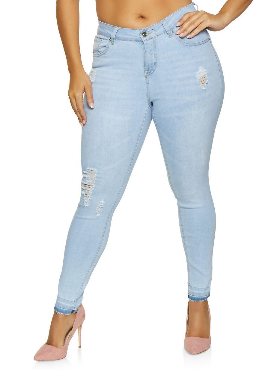 b9d1caa5564 Plus Size WAX Distressed Skinny Jeans - Blue - Size