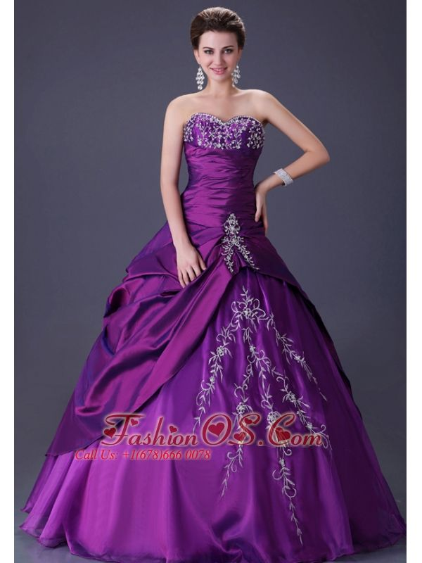 Cheap cute purple color quinceanera ball gown with silver for Wedding dress with purple embroidery