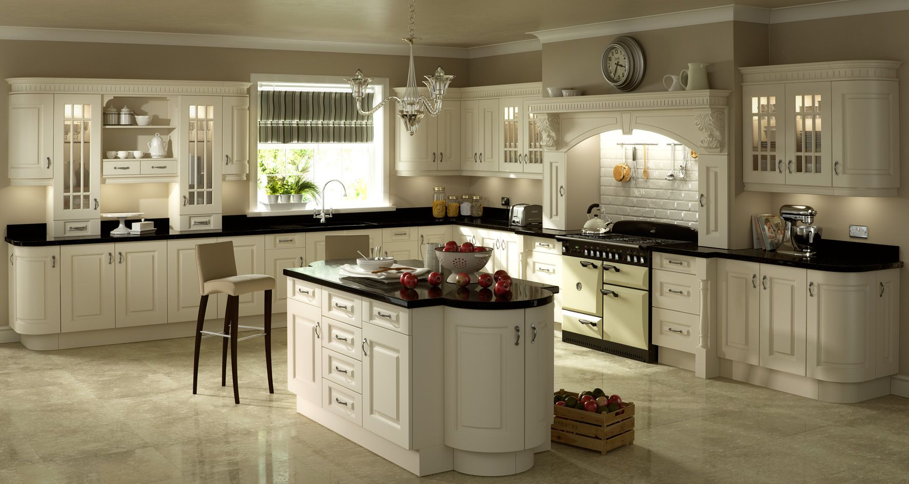 Nice Ivory Kitchens Design Ideas Part - 2: Ivory Cabinets With Black Appliances · German KitchenPainted  DoorsTraditional KitchensKitchen DesignsKitchen IdeasIvory ...