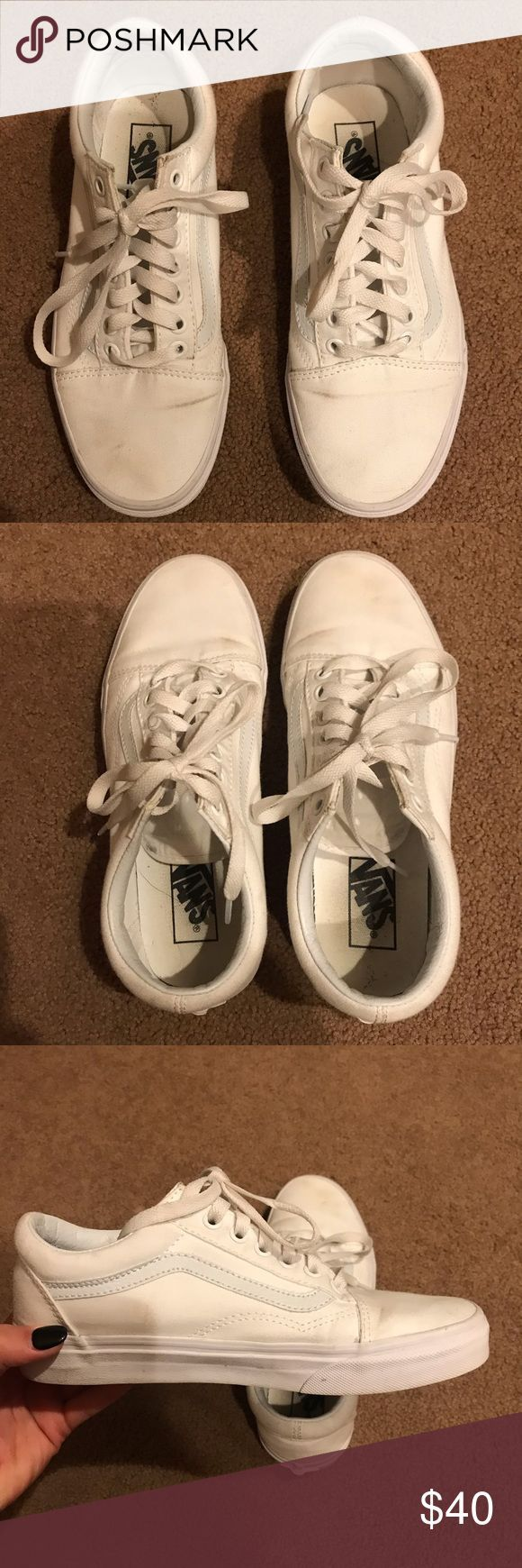 All white old school vans Only worn a couple times have small marks on the fron All white old school vans Only worn a couple times have small marks on the fron