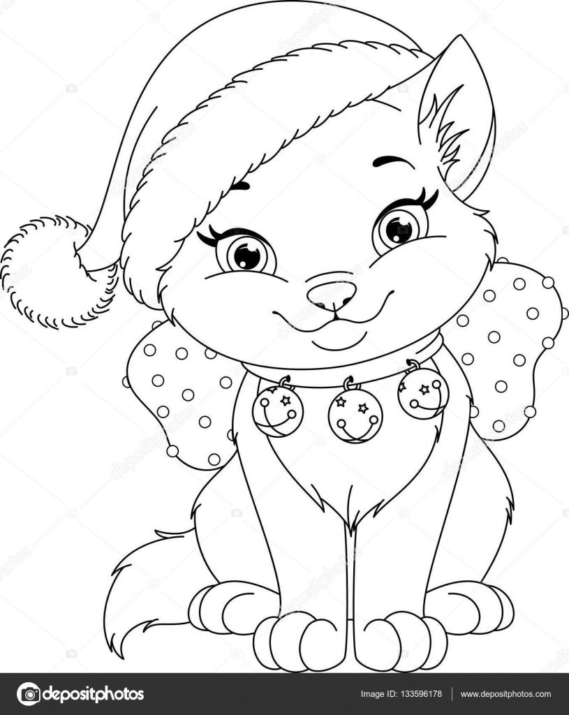 Download Christmas Cat Coloring Page Stock Illustration