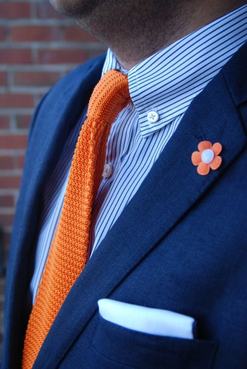 Navy (linen) sport coat, blue stripe shirt, orange knit tie ...