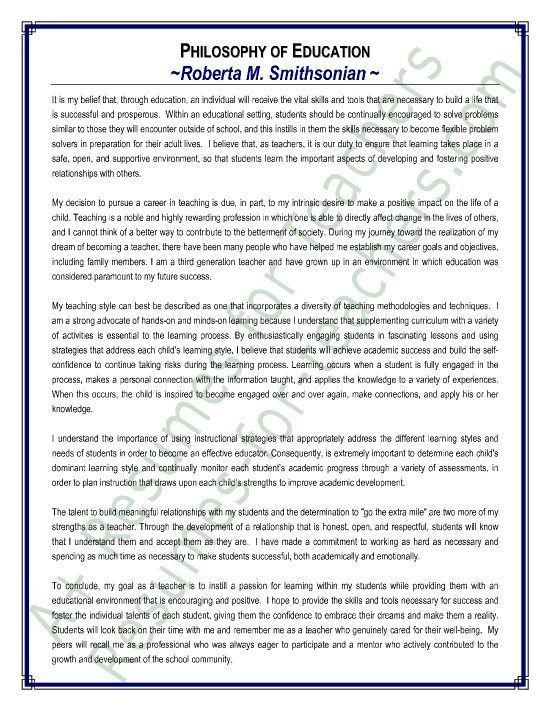 Sample Philosophy Of Education Statement English