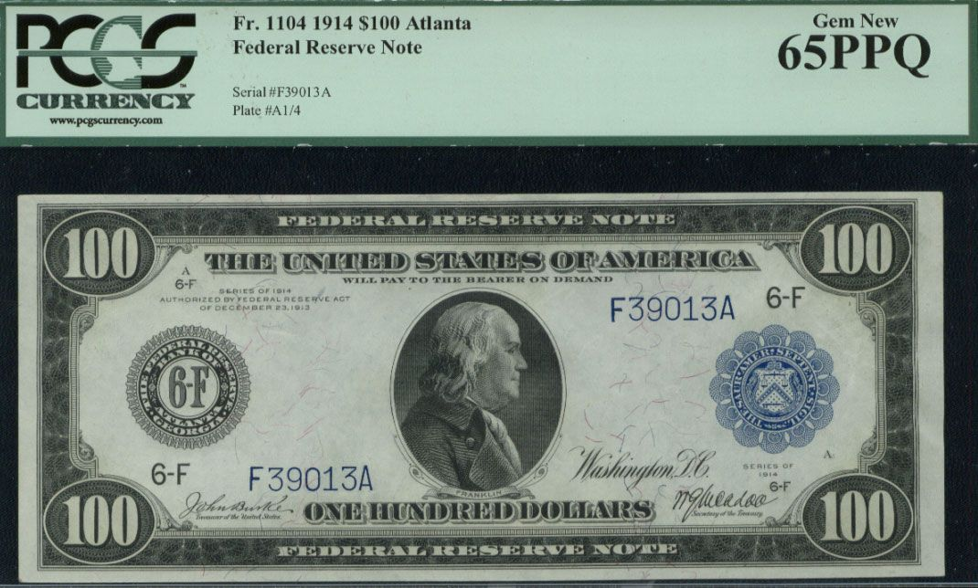 1914, $100 FR 1104 Large Size, PCGS 65PPQ  http://www.collectorscorner.com/Products/Item.aspx?id=22151249  #FederalReserveNote #PaperMoney #OneHundredDollars #Bill #Note #BankofAtlanta #Currency #Collector #LargeSize #Money #Franklin #PCGSCurrency #PPQ