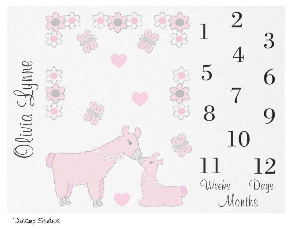 BABY GIRL MONTHLY Blanket Pink Llama Milestone Month