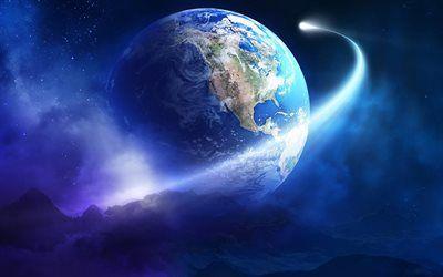 Kostenlos Hintergrundbilder Herunterladen herunterladen hintergrundbild erde comet galaxy sci fi sterne