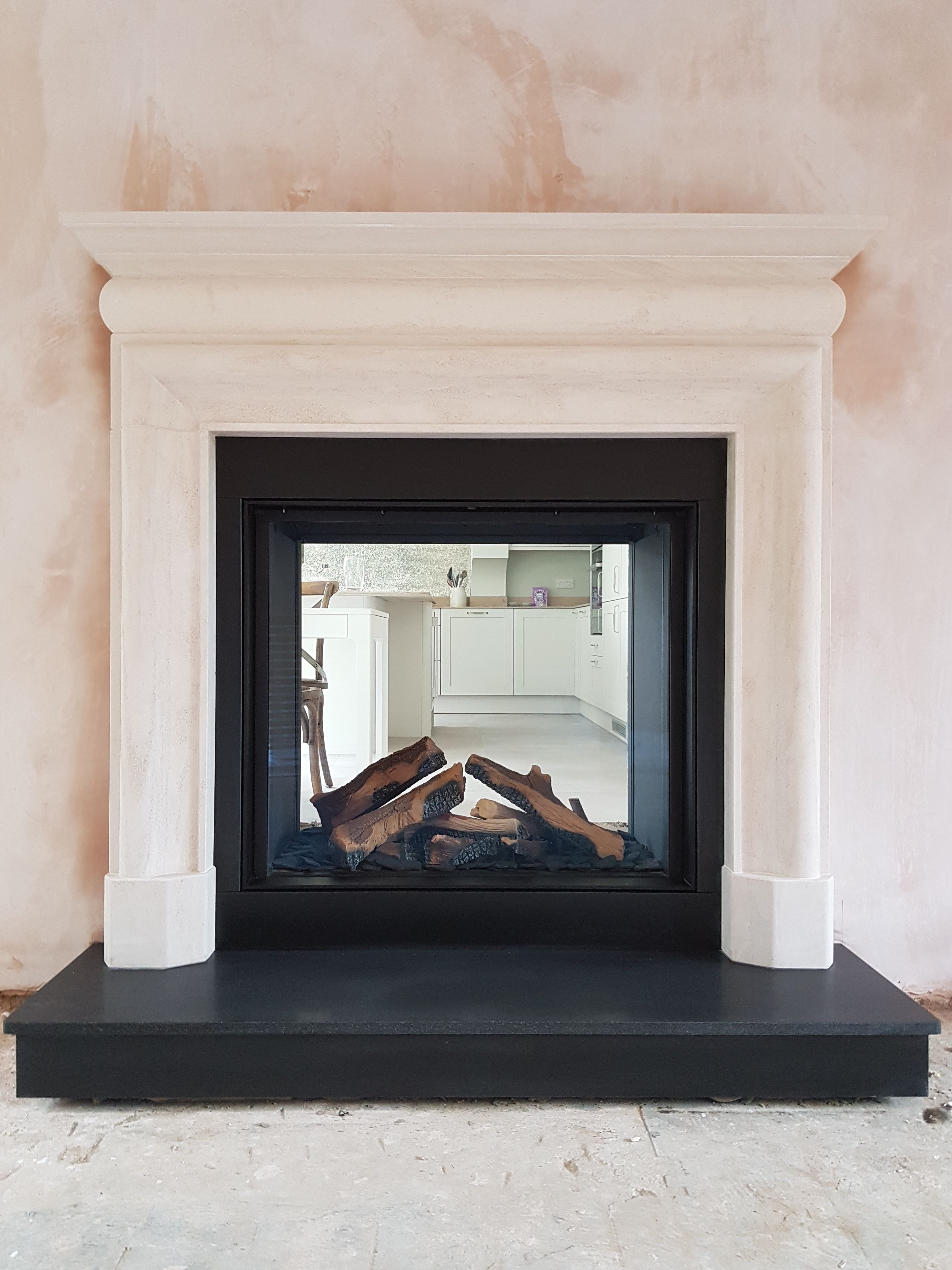 Dru Maestro 75 Tunnel Eco Wave Gas Fire Lounge Side With A 54 Capital Mullholland Surround In Corinthian Wood Burning Stove Honed Granite Multi Fuel Stove