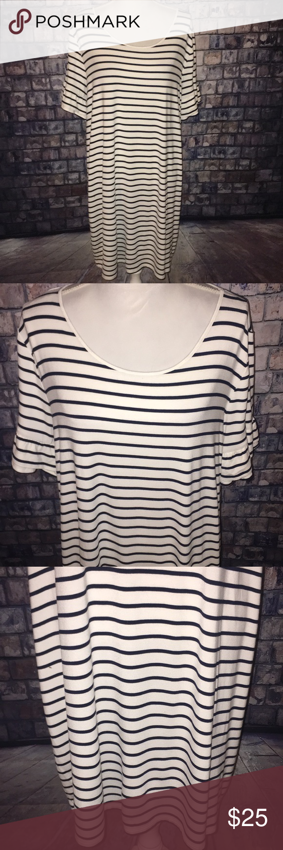 80b15bf639 MAURICE XL STRIPED DRESS WITH RUFFLED SHORT SLEEVE MAURICES 🖤 XL 🖤STRIPED DRESS  WITH RUFFLED