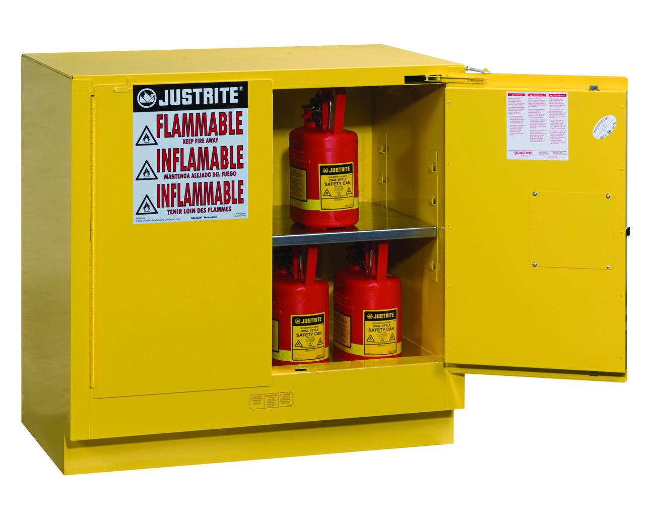 Justrite 892320 22 Gallon Undercounter Flammable Safety Cabinet Adjustable Shelving Locker Storage Basic Office Supplies