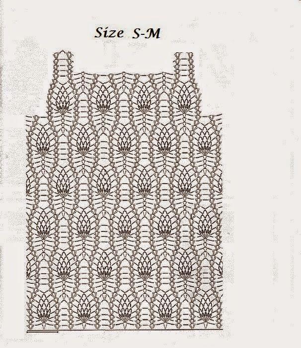 Patrones y moldes de blusa sin mangas tejida con ganchillo en punto ...