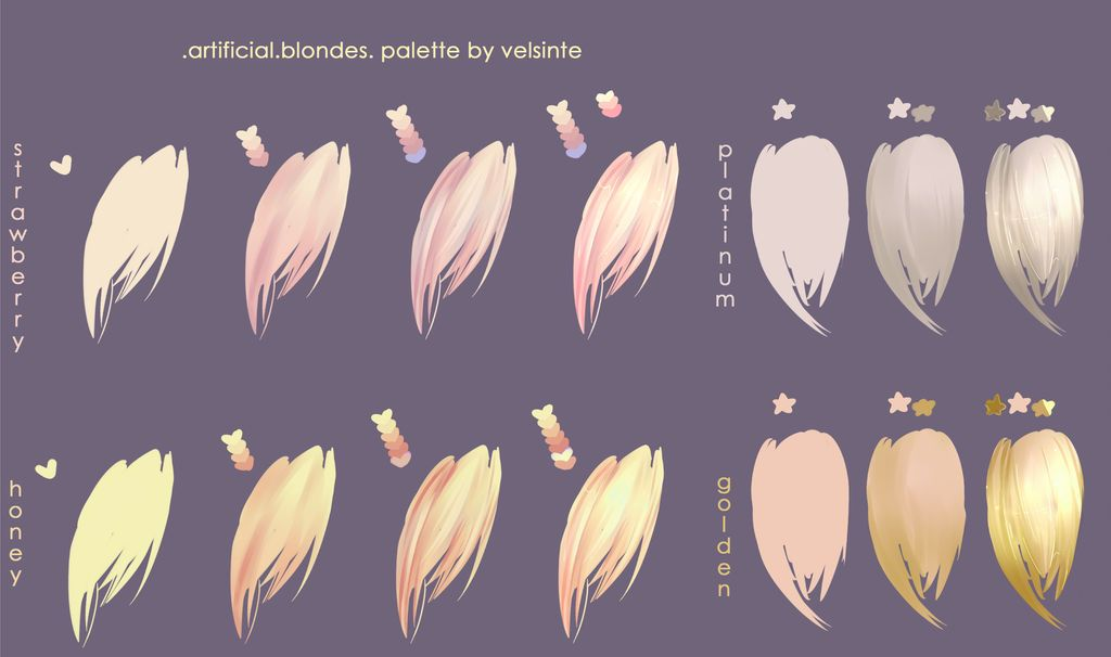 Blondes Hair Palette By Velsinte On Deviantart Blonde Hair Palette Anime Hair Color How To Draw Hair