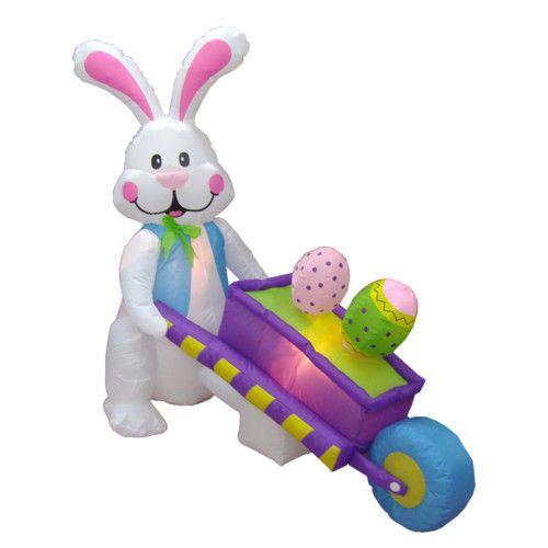 Easter Eggs Bunny Rabbit Inflatable Yard Garden Decor Lighted Wheelbarrow Pink