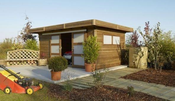 Abri bois à toit plat Durapin    wwwm-habitatfr abri-de - plan de cabane de jardin