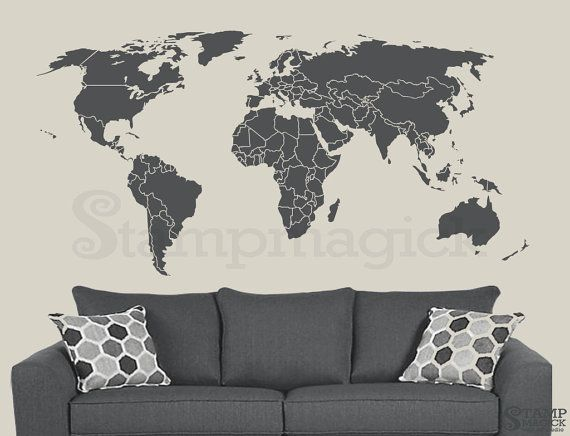 World map wall decal countries border wall art sticker world map wall decal countries border wall art sticker boundaries outline vinyl or chalkboard dry erase black white board k295 gumiabroncs Choice Image