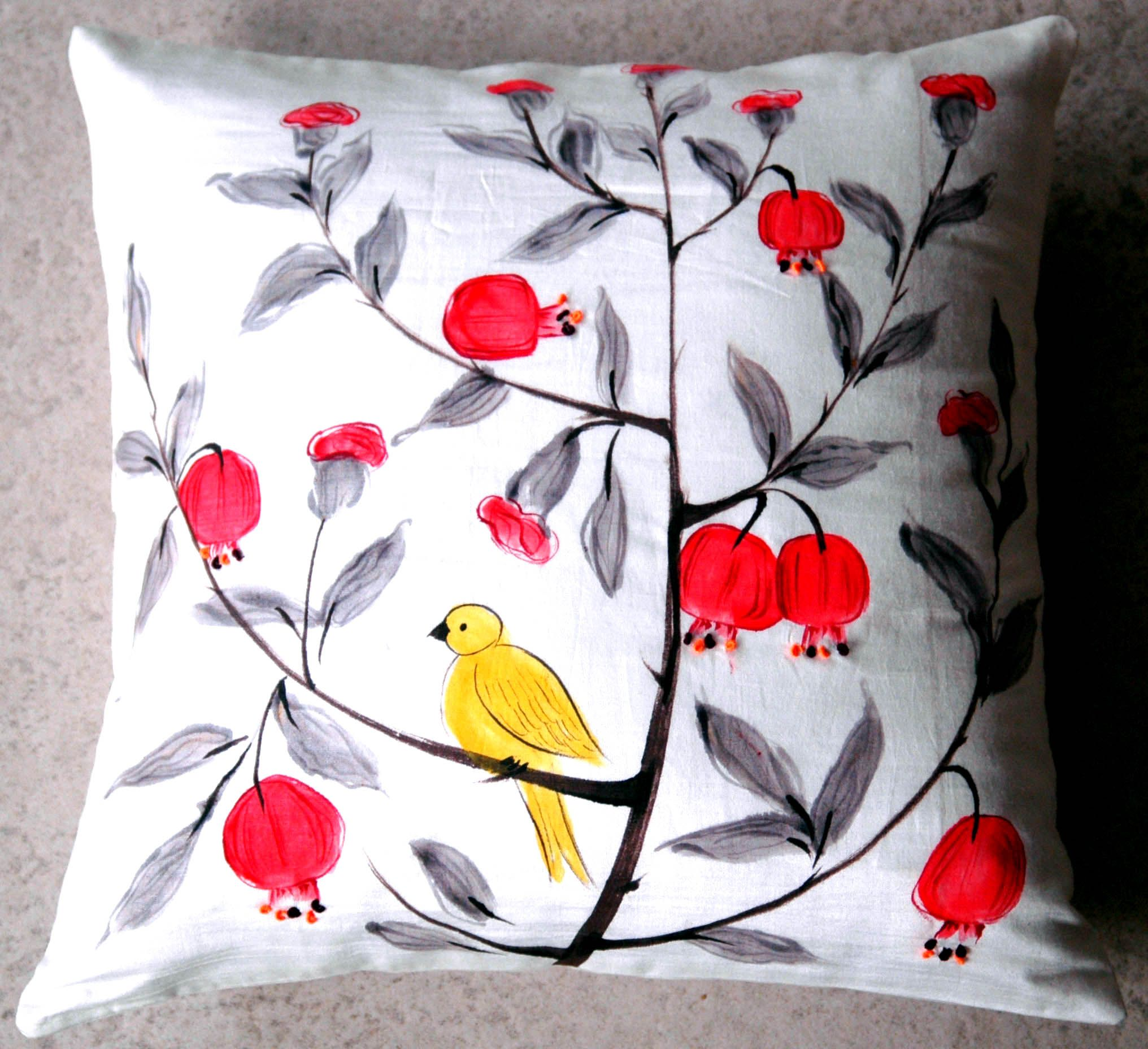 Indian AugustHand painted cushion cover Hand painted