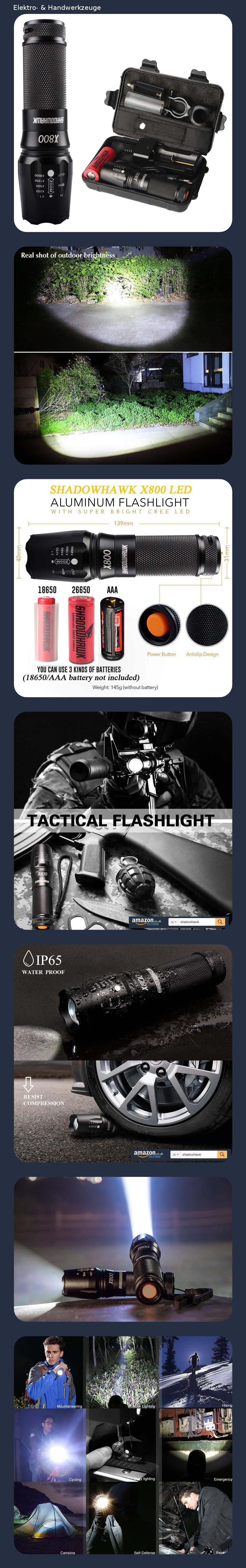 Shadowhawk X800 Led Taschenlampe Super Helle 4000 Lumen CREE Taschenlampen Wi...