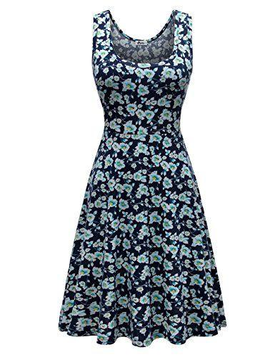 f0e4bfcd6d7e Herou Women Sleeveless Beach Casual Flared Floral Tank Dress at Amazon  Women's Clothing store: