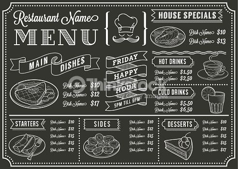 Vector art chalkboard restaurant menu template mexican for Artistic cuisine menu