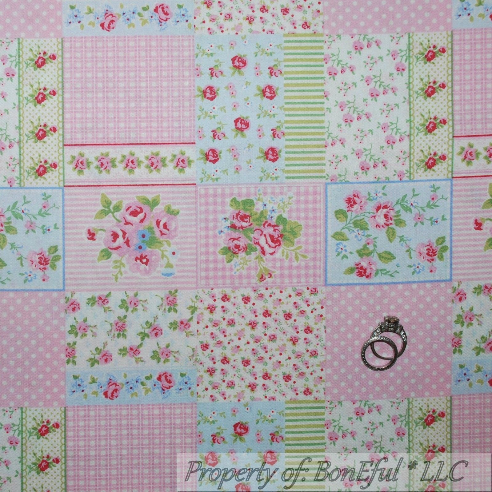 Boneful Fabric Fq Cotton Quilt Vtg S Pink White Dot Rose