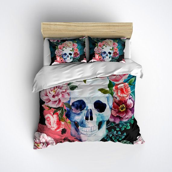 Featherweight Watercolor Skull Bedding Sugar Design Printed On Cream Color Fabric Duvet Cover Set