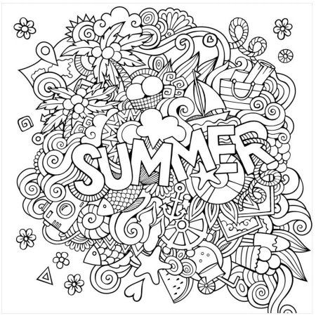 Summer By Eazl Premium Gallery Wrap Walmart Com Summer Coloring Pages Coloring Canvas Coloring Pages