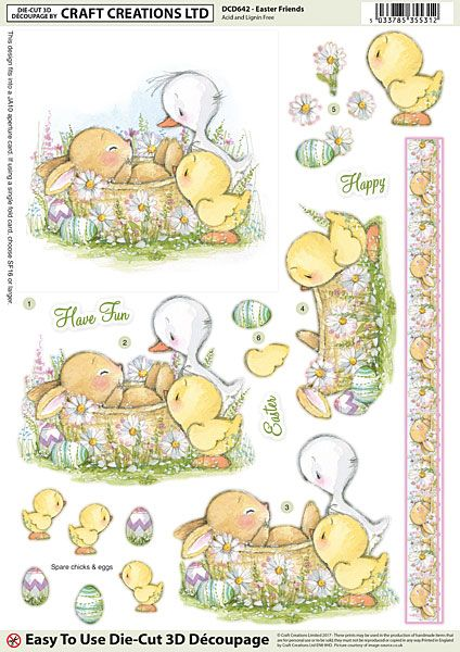 Fluffy Chicks 3D Decoupage Sheet Card Making Paper Craft *CUTTING REQUIRED*