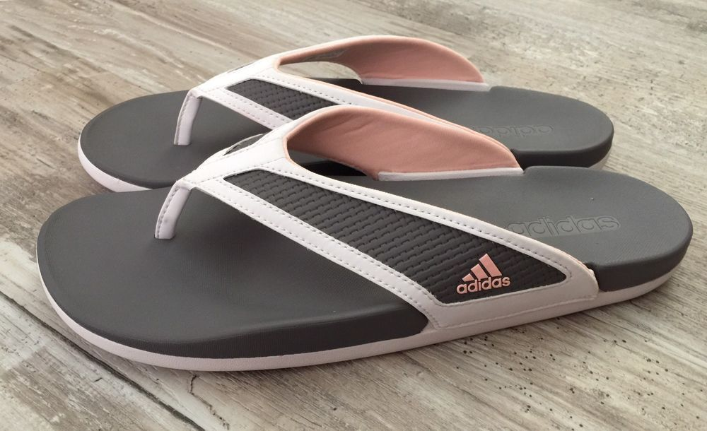 14a756244 Adidas Adilette CF+ Sandals Womens 10 Flip Flop Ultra Soft Thong White Gray  Pink