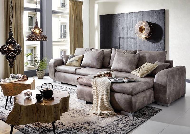 Wohnlandschaft mit Schlaffunktion 330x178x85 silver MIKA Jetzt - wohnzimmer sofa braun