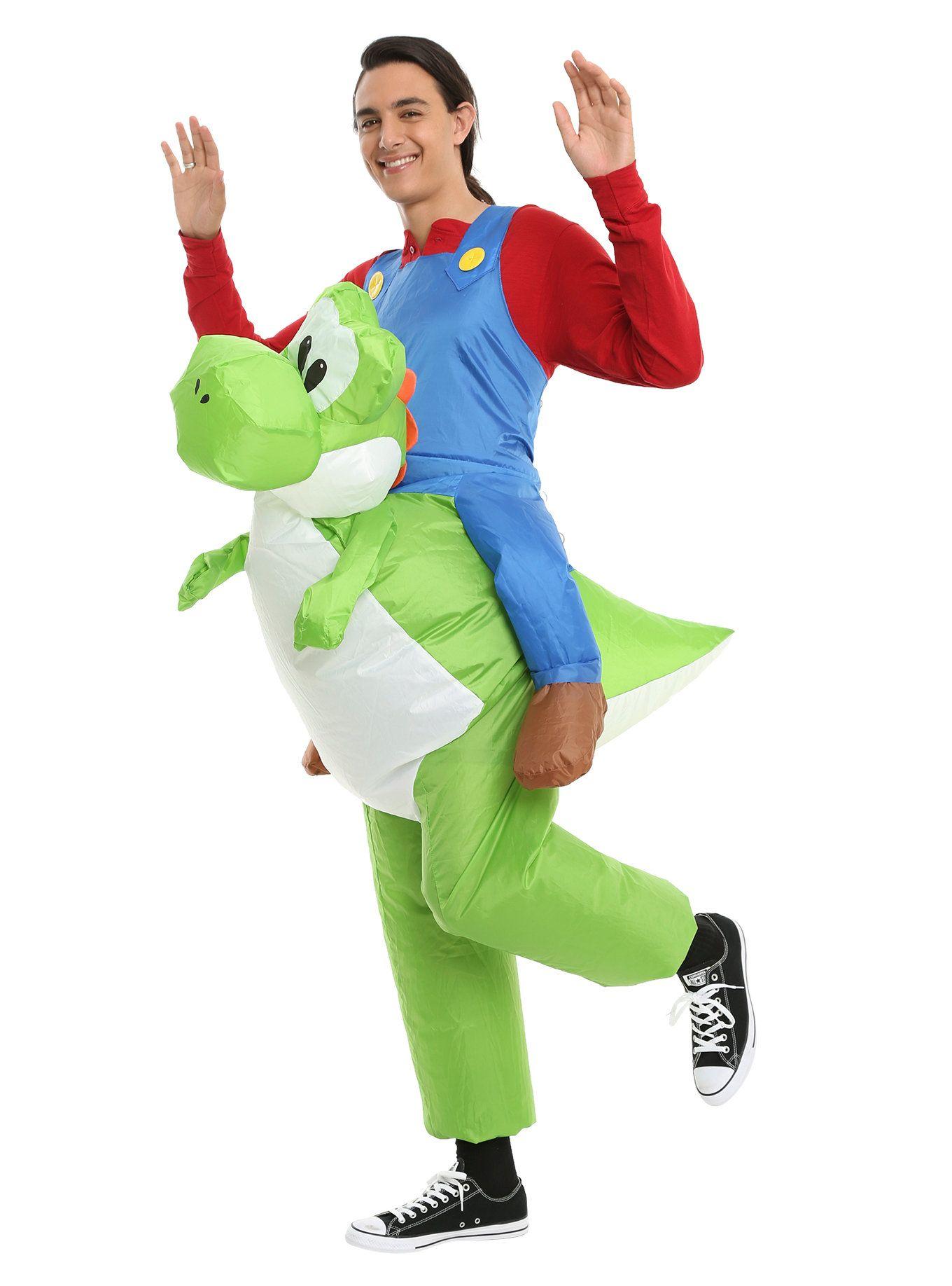 Super Mario Mario Riding Yoshi Inflatable Costume | Hot Topic  sc 1 st  Pinterest & Super Mario Mario Riding Yoshi Inflatable Costume | Pinterest ...