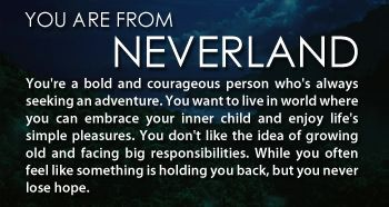 Once Upon a Time in Wonderland - Personality Quiz - Which 'Once Upon A Time' Land Are You From? I got neverland!