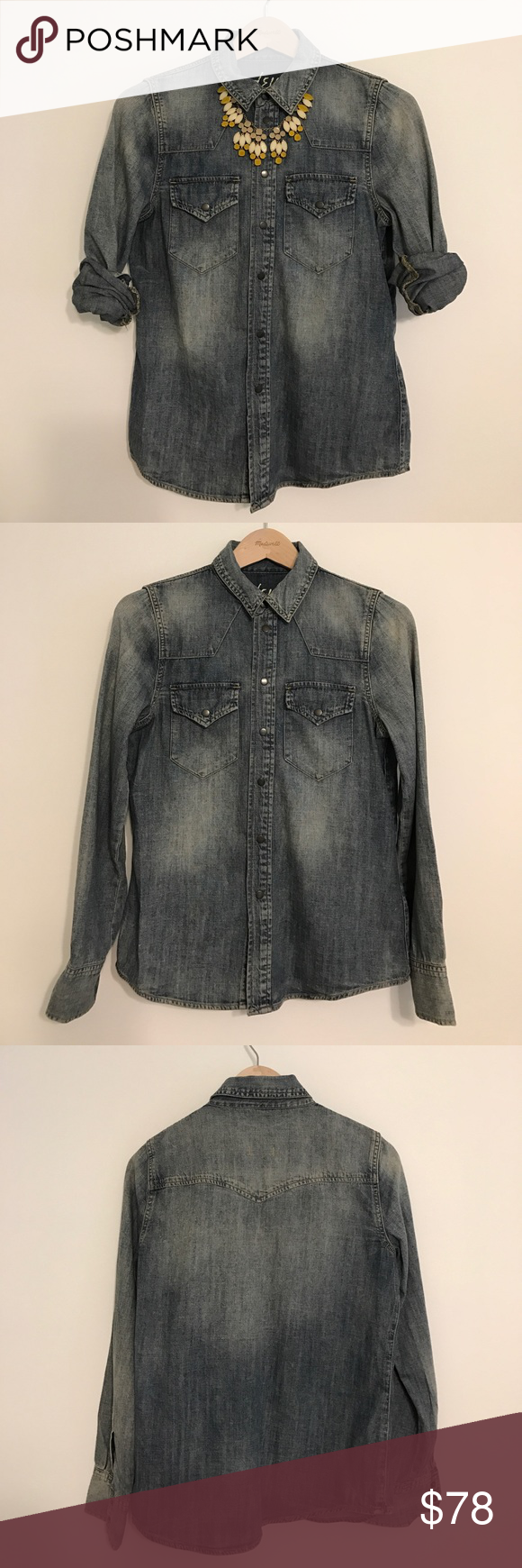 Madewell western style denim shirt. Madewell western style denim shirt.  Snap front closure.  Snap front patch pockets and snaps at cuffs. Madewell Tops