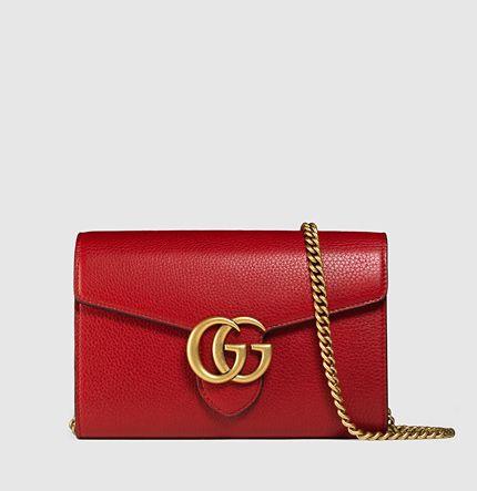 Gucci - portefeuille en cuir gg marmont avec chaîne   Sacs   Pinterest 5baf08e3e11