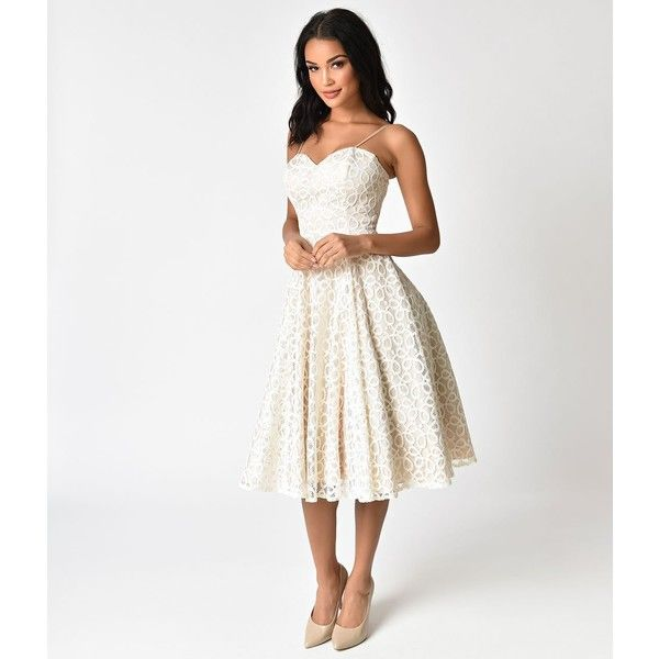 c3616f7a6d82d Unique Vintage 1950S Style Champagne & Ivory Lace Carole Swing Dress ($148)  ❤ liked on Polyvore featuring dresses, ivory, a-line cocktail dresses, ...