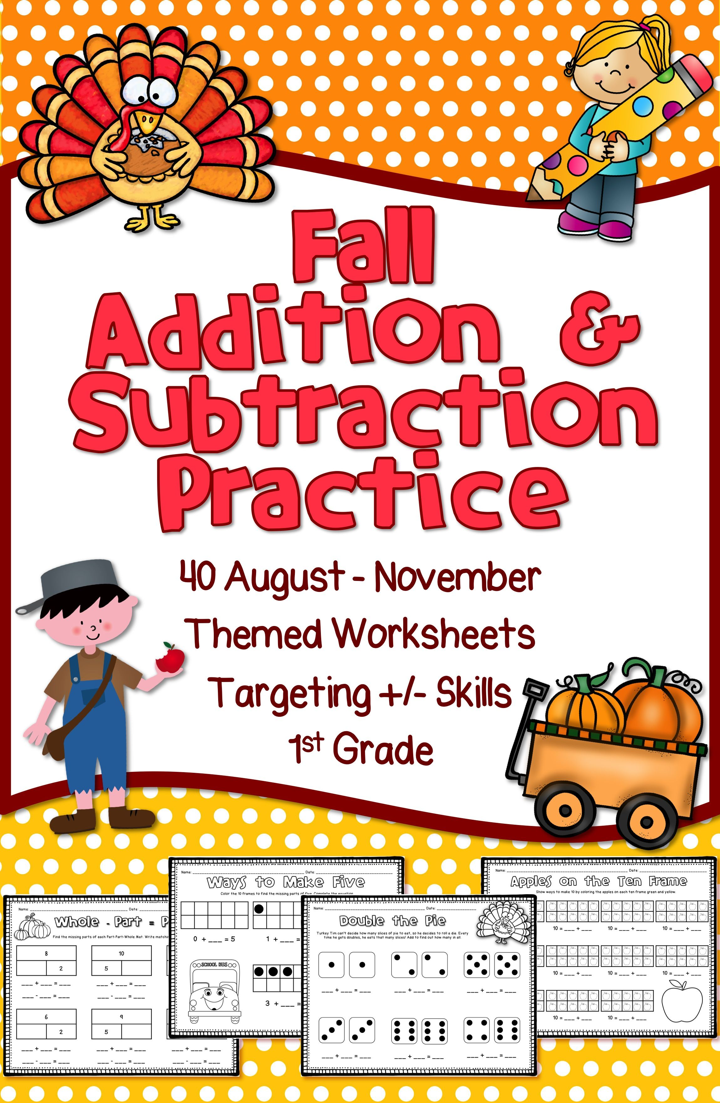 Fall Math Practice 40 Addition Subtraction Worksheets For