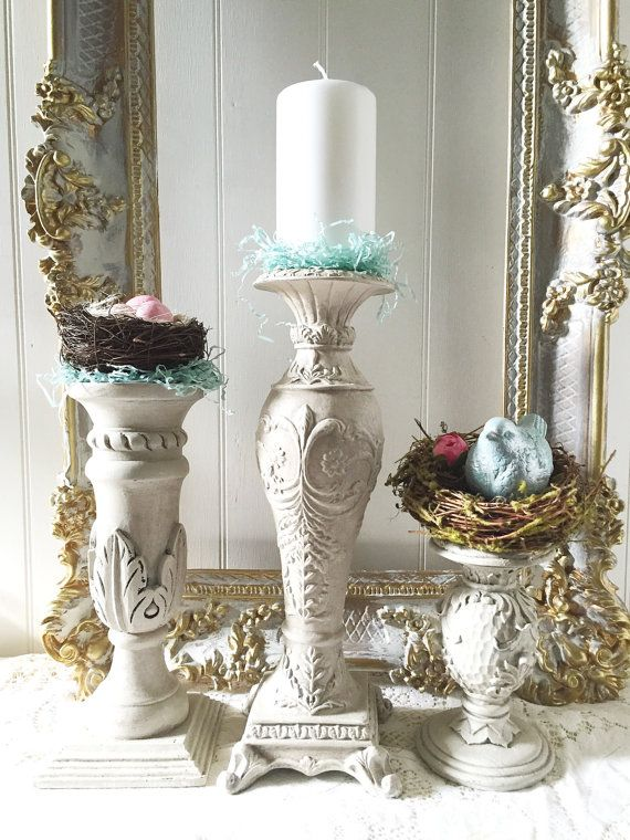 French shabby chic candle holders wedding table