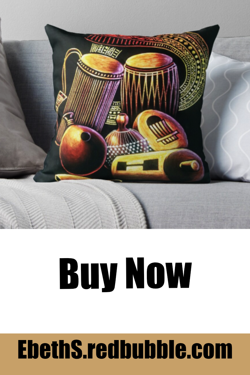 Create a stylish home decor with this beautifully design African musical instrument collection throw pillow. #africandecor #throwpillow #talkingdrum #africandrawing #africanartwork #homedecor #redbubble